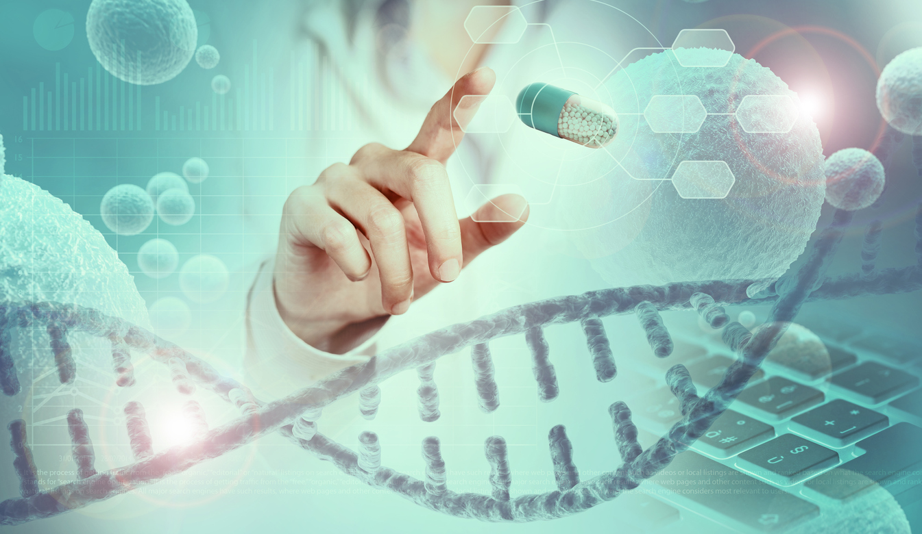 scientist finger pointing a capsule hologram above DNA helix